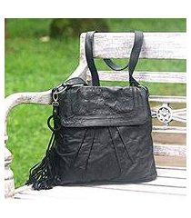 leather shoulder bag, 'sulawesi morn in black' (indonesia)