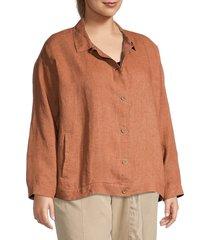 eileen fisher women's plus organic linen shirt jacket - cinnamon - size 1x (14-16)