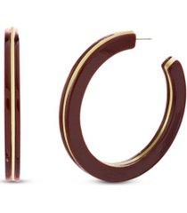 kensie burgundy resin layered post hoop earring