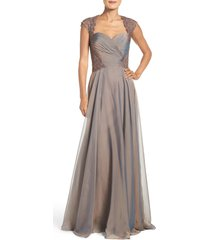 women's la femme ruched chiffon a-line gown, size 2 - brown