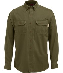 wolverine men's fletcher long sleeve twill shirt olive, size xl