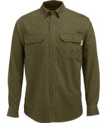 wolverine men's fletcher long sleeve twill shirt olive, size xxl