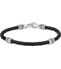 effy men's leather braided bracelet in sterling silver & 14k rose gold-plate