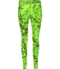 legging deportivo flores fondo verde color verde, talla l