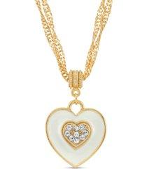 2028 enamel heart with swarovski crystal necklace