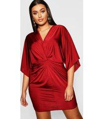 plus disco slinky twist front dress, wine