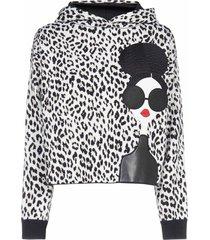 alice + olivia oscar leopard wool hoodie
