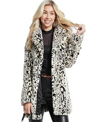 abrigo ls cheetah trench coat mult gris guess