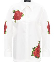 floral-patched shirt