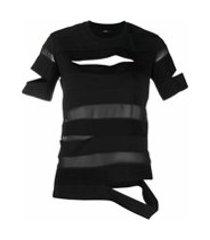 diesel camiseta semi-translúcida - preto