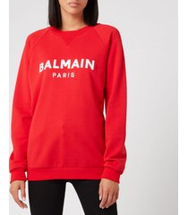 balmain women's satin logo sweatshirt - red - xl