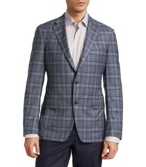 saks fifth avenue men's collection by samuelsohn wool plaid jacket - blue - size 46 r