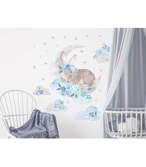 śpiący królik niebieski - naklejki na ścianę