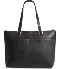 nordstrom lexa pebbled leather tote - black