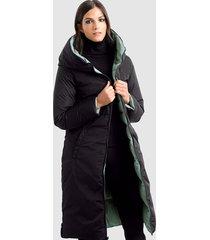 keerbare mantel alba moda groen::zwart