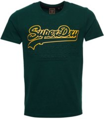 superdry men's vintage-like logo embossed t-shirt