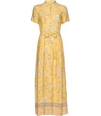 jessy sunny dress ss maxi dress galajurk geel mos mosh