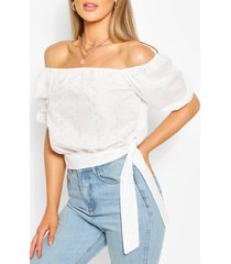 broderie anglaise tie detail blouse, white