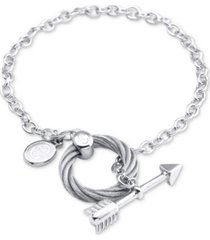 charriol arrow, disc & cable ring link bracelet in sterling silver & stainless steel