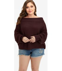 plus size burgundy off shoulder dolman sleeve sweater
