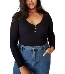 cotton on trendy plus size lincoln henley long sleeve top