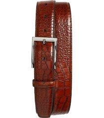 men's big & tall torino gator grain embossed leather belt, size 46 - cognac