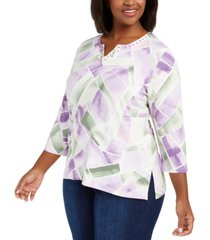 alfred dunner plus size loire valley abstract geo-print top