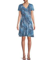 karl lagerfeld paris women's v-neck a-line dress - blue - size 4