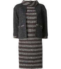 chanel pre-owned layered sleeves woven dress - grey