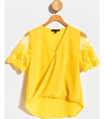 jem lace sleeve surplice blouse - yellow