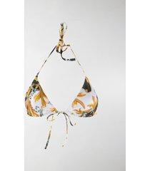 versace acanthus print bikini top