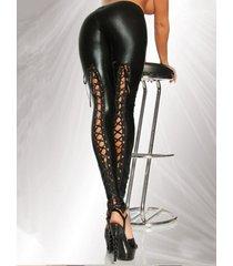 leggings de cintura alta negros con cordones diseño