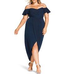 plus size women's city chic maxi flutter off the shoulder high/low dress