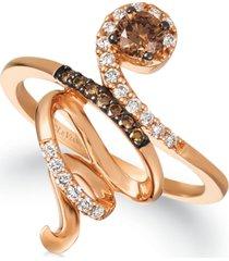 le vian chocolate diamonds (1/3 ct. t.w.) & vanilla diamonds (1/6 ct. t.w.) crossover ring in 14k rose gold