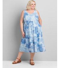lane bryant women's sleeveless tiered swing dress - clip dot 14 blue tie dye