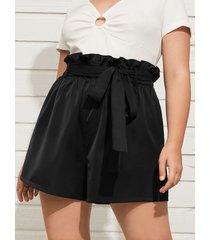 yoins plus talla cinturón diseño shorts con ribete de volantes y bolsillos laterales