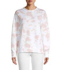 monrow women's tie dyed-print sweatshirt - blush - size xs