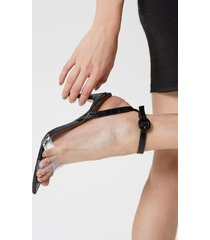 amaro feminino sandália bico fino e vinil, preto