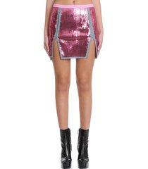 rick owens sacrimini skirt in rose-pink cotton