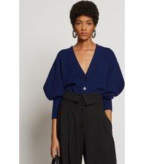 proenza schouler draped sleeve cropped cashmere knit cardigan indigo/blue m