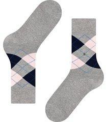 burlington socks king soft combed socks   grey/pink   21020-3405