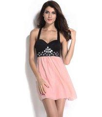vestido grupo tabú 594 - negro y rosa