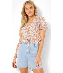 geplooide bloemenprint blouse, grey