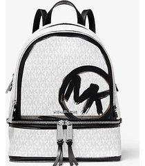 mk zaino rhea medio con logo - combo bianco (bianco) - michael kors