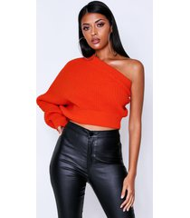 off the shoulder ribbed knitted sweater, orange