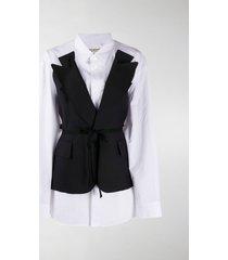 junya watanabe belted layered blazer shirt