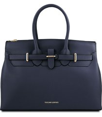 tuscany leather tl141548 elettra - borsa a mano in pelle con accessori oro blu scuro