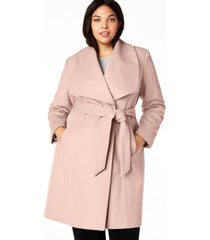 cole haan plus size belted wool wrap coat