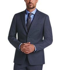 calvin klein blue skinny fit plaid suit
