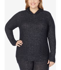 cuddl duds plus size soft knit long-sleeve tunic hoodie